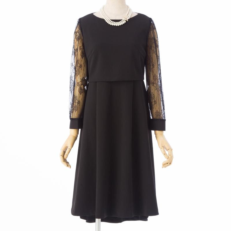 Select Shop【授乳口付】袖レースレイヤードドレス ブラック/M