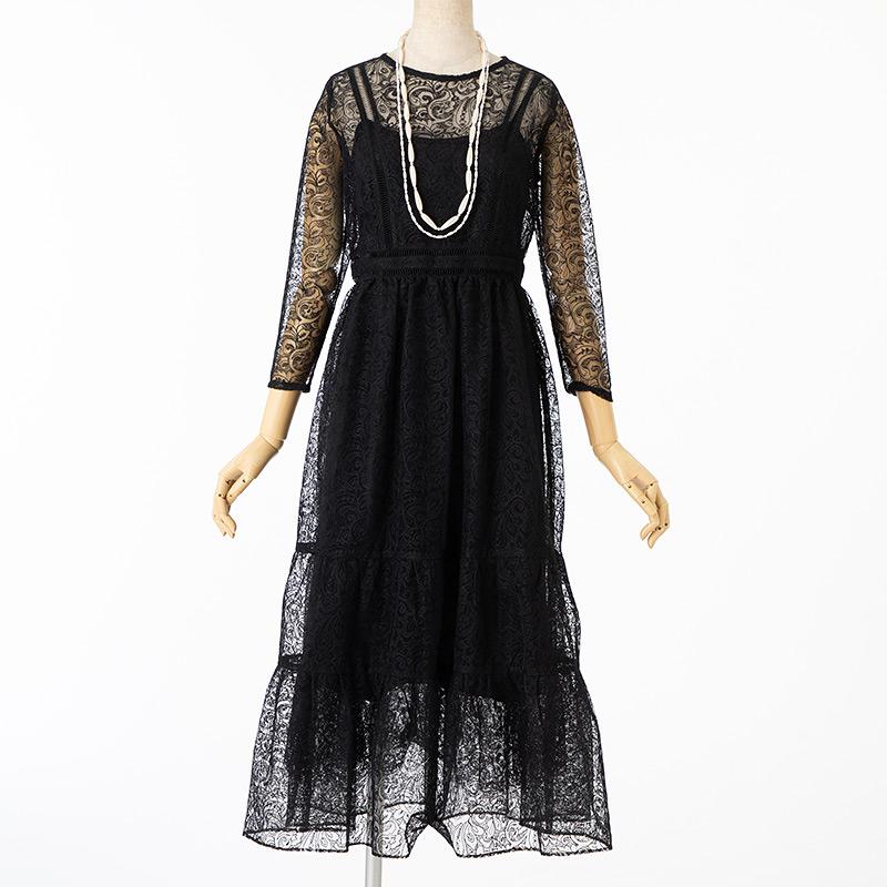 リリーブラウン チュールレース刺繍ドレス ブラック/M