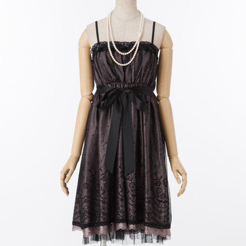 82c01c876d9be L EST ROSE レストローズ スパンコールローズドレス ブラック M|結婚式 ...