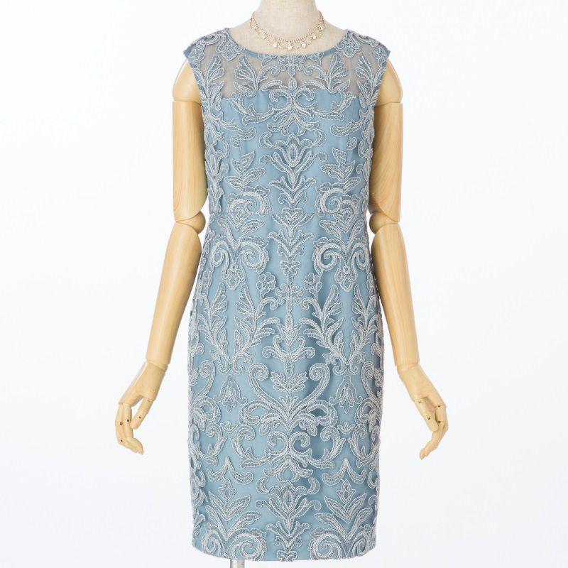 GRACE CONTINENTAL グレースコンチネンタル ラメコード刺繍ドレス ブルー/S,M