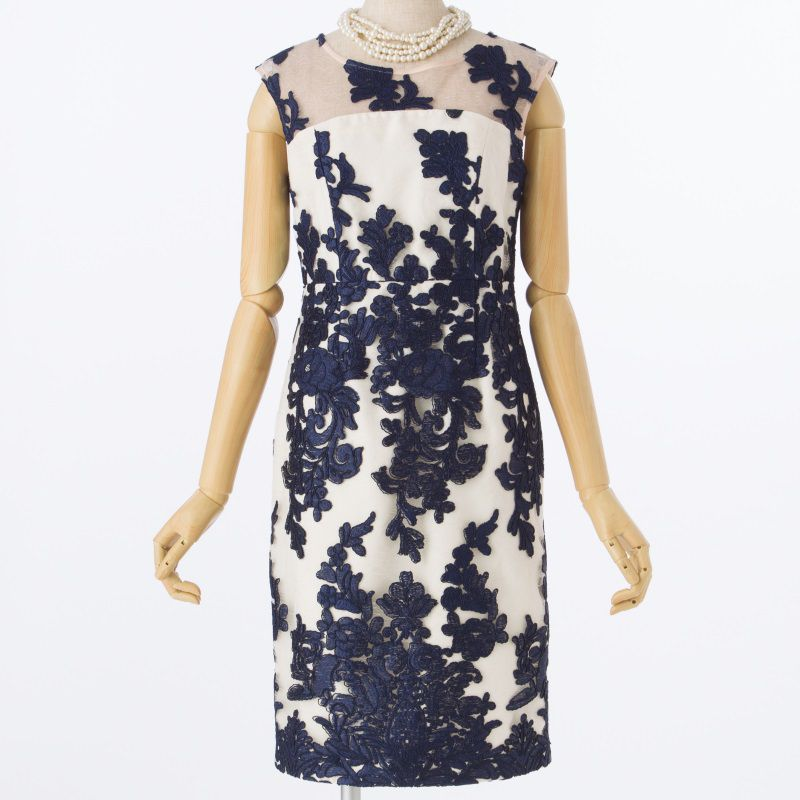 GRACE CONTINENTAL グレースコンチネンタルコードチュール刺繍タイトドレス