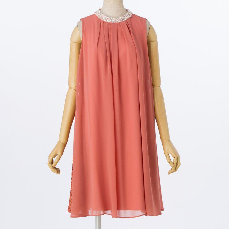 59776aec4abc9 apres jour アプレジュール ネックビジュー付ドレス オレンジ/M|結婚 ...