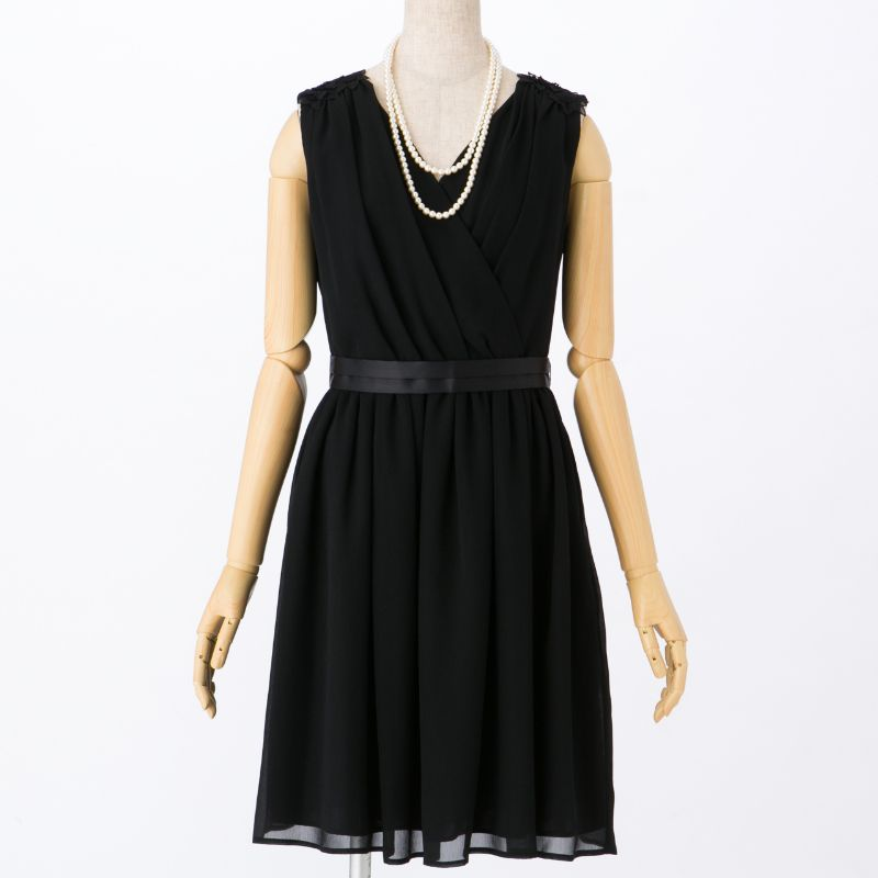 5764e15979e6a ROPE  ロペ ショルダーフラワーベルトドレス ブラック M|結婚式 ...