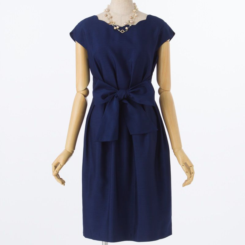 9f15590b62a02 STRAWBERRY-FIELDS ストロベリーフィールズ スカラップドレス ネイビー ...